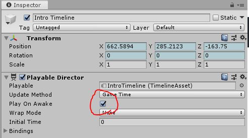 The Intro Timeline's Playable Director component